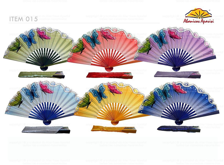 015 - Abanico bambú diseño mariposa