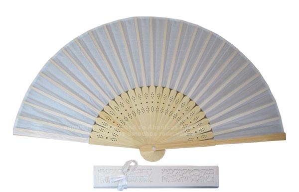 08 – White-Beige – Bamboo fan white-beige fabric + individual box
