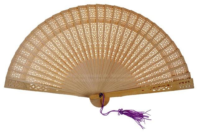 12 White – fretwork sandalwood fan with hanging pom pom