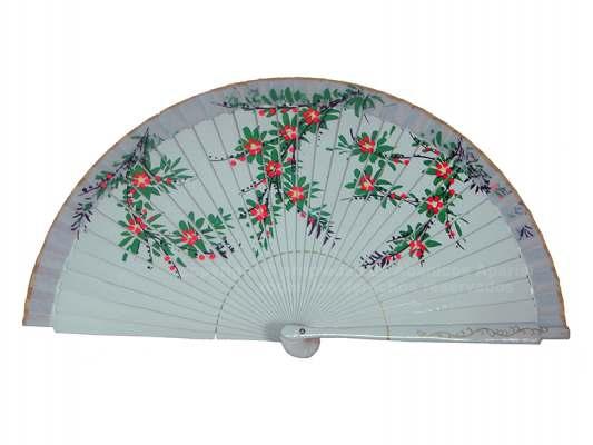 1221 – Wooden fan painted on 2 sides flowers