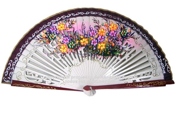 1251 – Wooden fan two color flowers – 2 sides