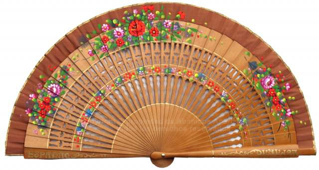 1256 – assorted fans with fretwork wood painted on 2 sides