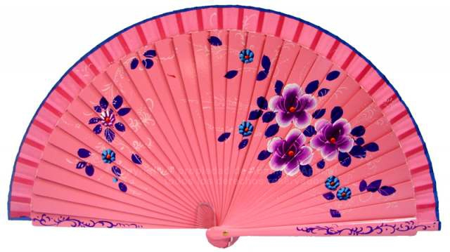 1700 – Wood fan hand painted on both sides.