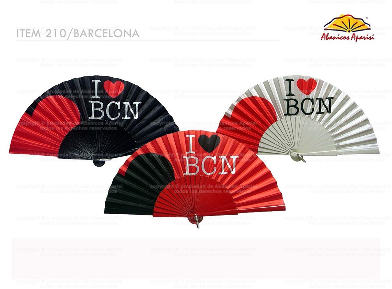 210/Barcelona – Wooden Fan I love Barcelona