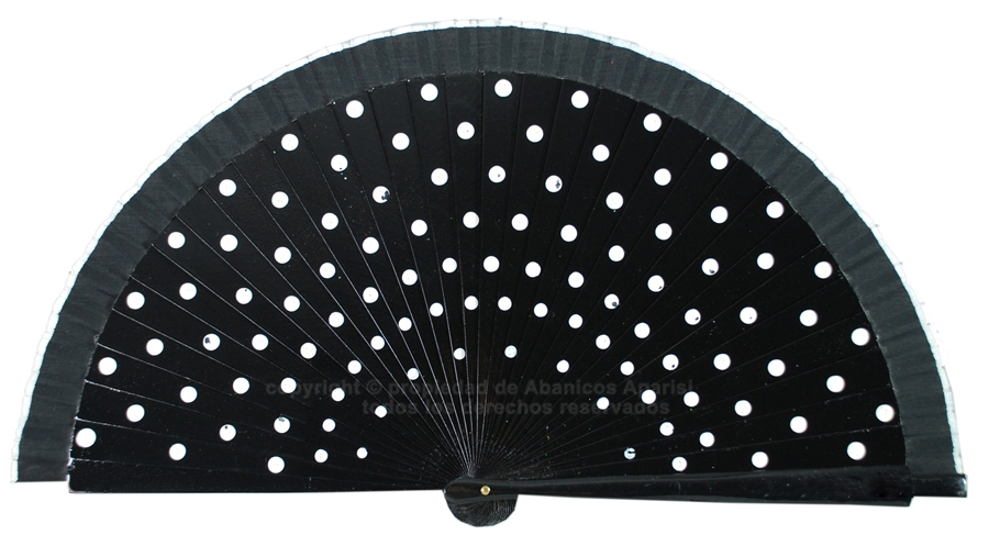 214/A – black wooden fan with white polka dots