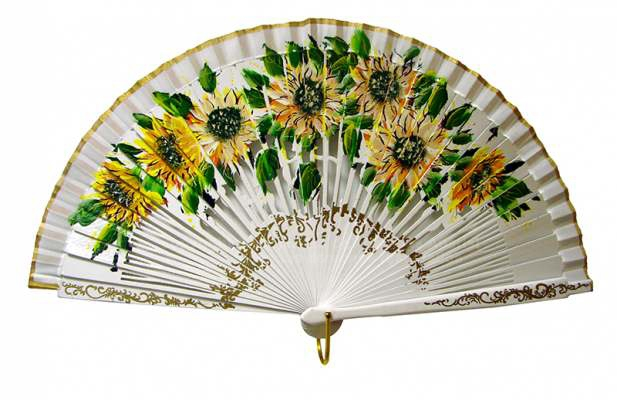 4189SU – Luxury fan Sunflower, hand painted in both sides