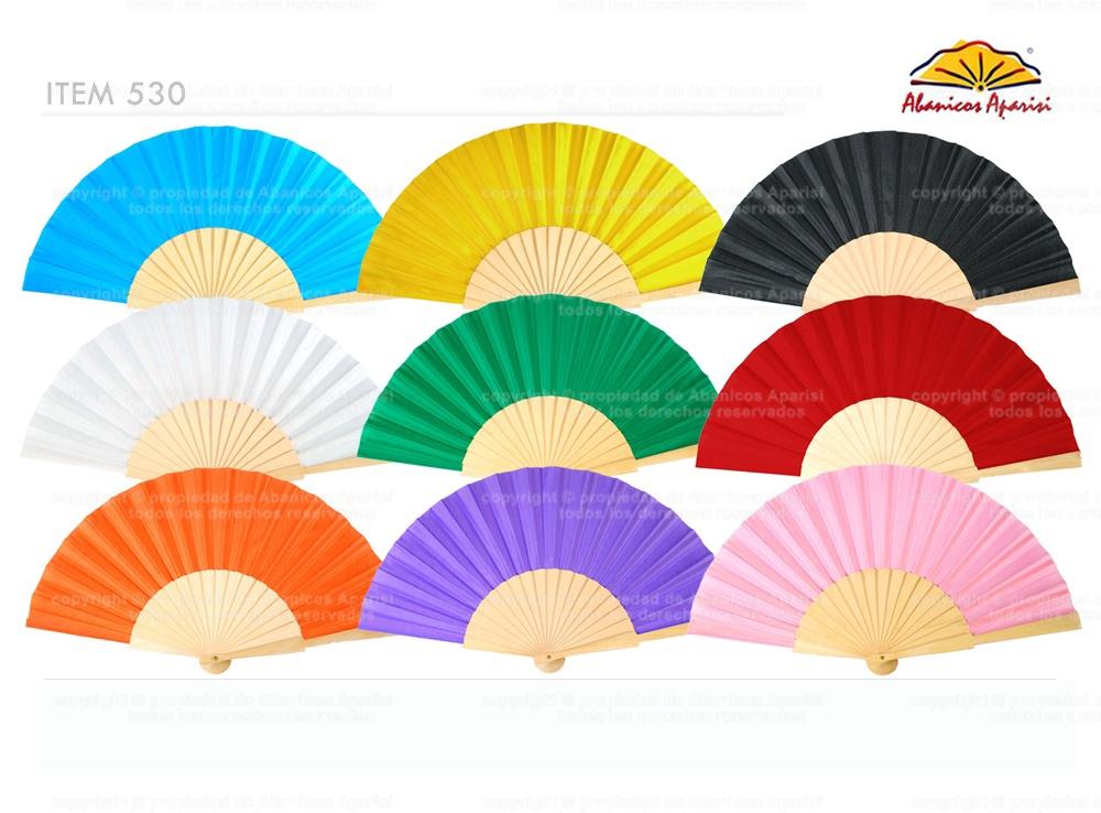 530 - Abanico tela colores surtidos