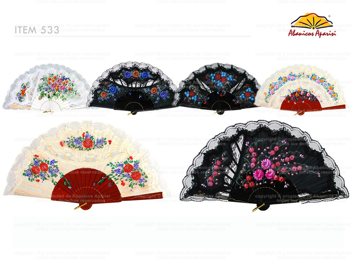 533 – Wood fan decorated with hand painted flowers and lace.