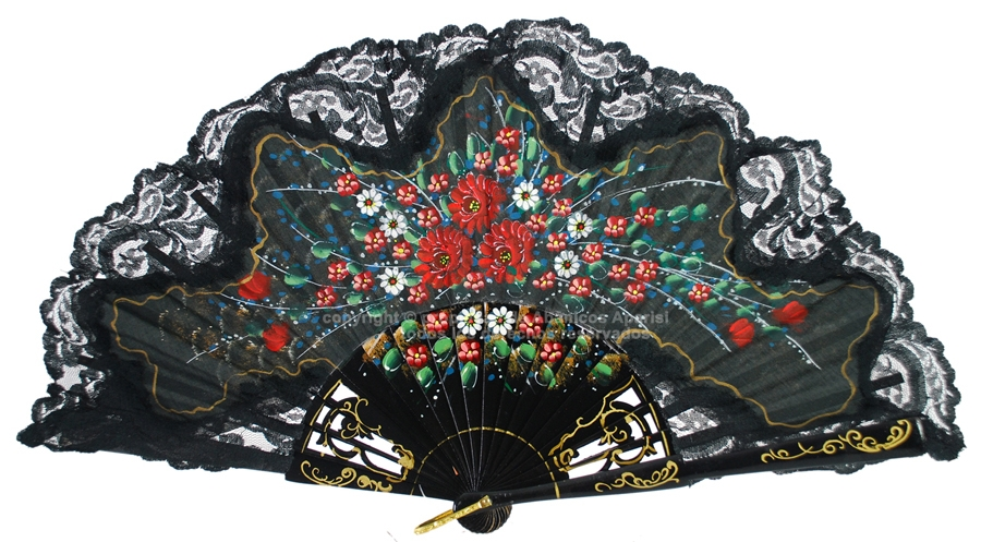 535 – Graved wooden stick and with hand painted cotton cloth with lace and golden ring.