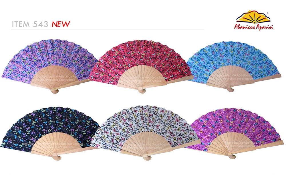 543 – Wooden fan butterfly fabric