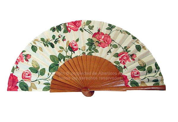 544 – Beige Wooden fan flower fabric 1 side