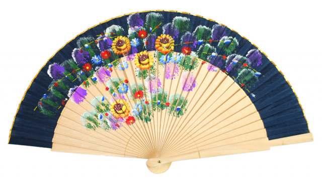 6002 - Abanico surtido flores pintado a mano 1 cara