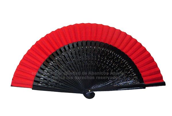 6018 - Abanico madera negro calado tela colores