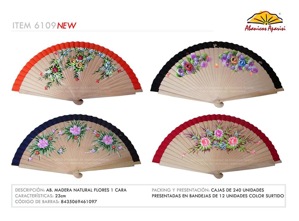 6109 - Fan natural wood flowers 1 side