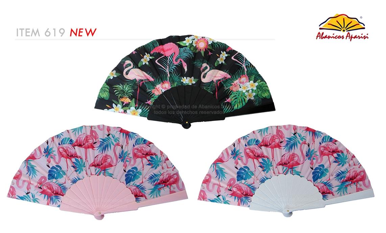 619 – Plastic fan flamingo assorted color