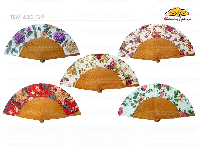623/27 - Abanico madera pericón beige tela flor