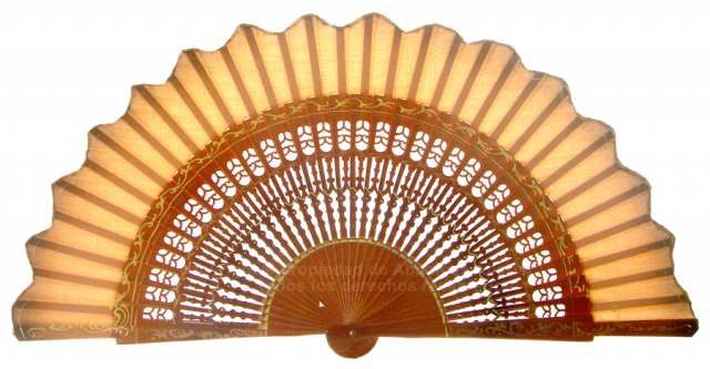 6303/2 – shaped wooden fan hand painted