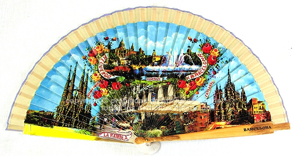 64010 – Wooden fan Barcelona including individual box with the same decoration
