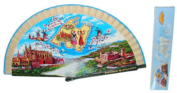 64041 – Wooden fans with the Mallorca design, each fan comes in an individual box with the same design as the fan.
