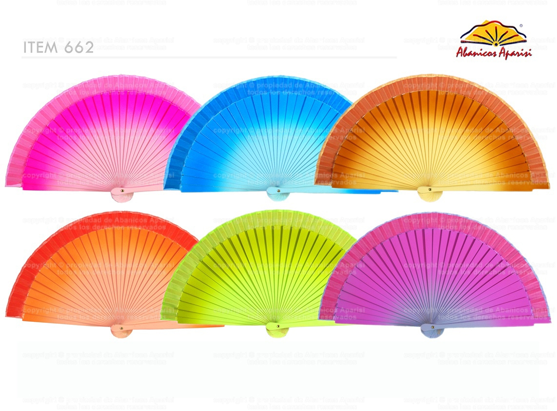 662 – handbag fan assorted plain colors with degraded effect