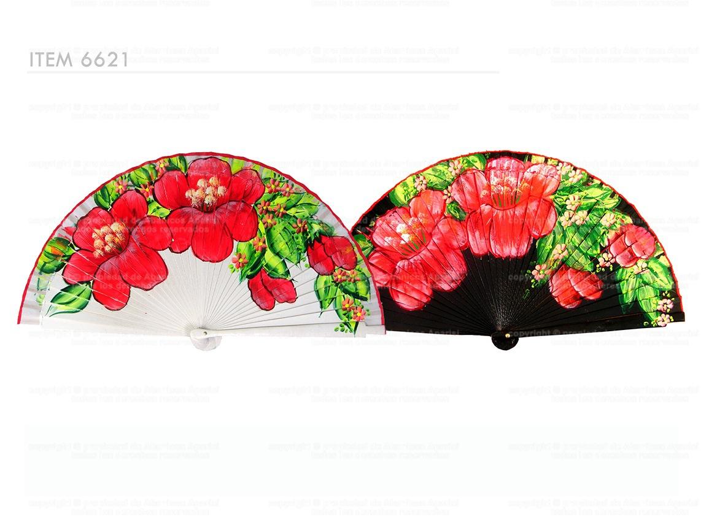 6621 - Abanico de madera pintado a mano a dos caras con decoracion floral.
