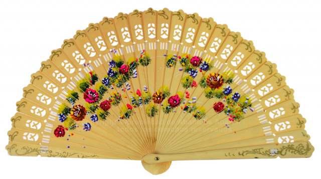 "6719 – ""baraja"" fan floral design hand painted on 2 sides"