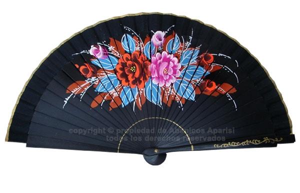 70100 - Abanico acrílico pintado flores 2 caras