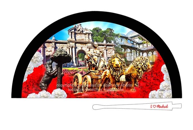 70209 - Abanico acrílico Madrid Cibeles flores