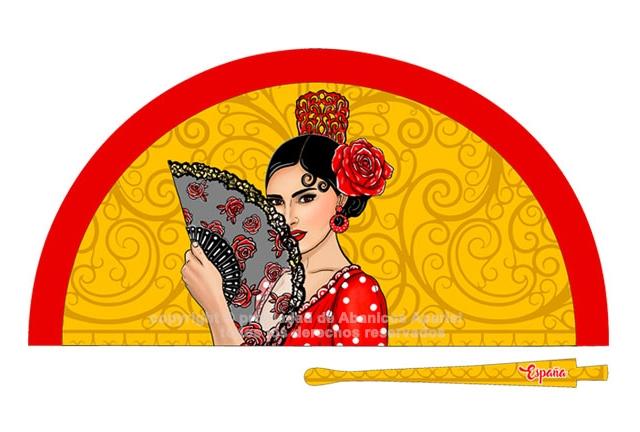 70220 - Abanico acrílico flamenca enrejado