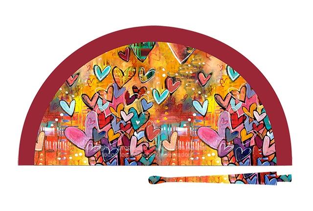 70600 - Abanico acrílico corazones