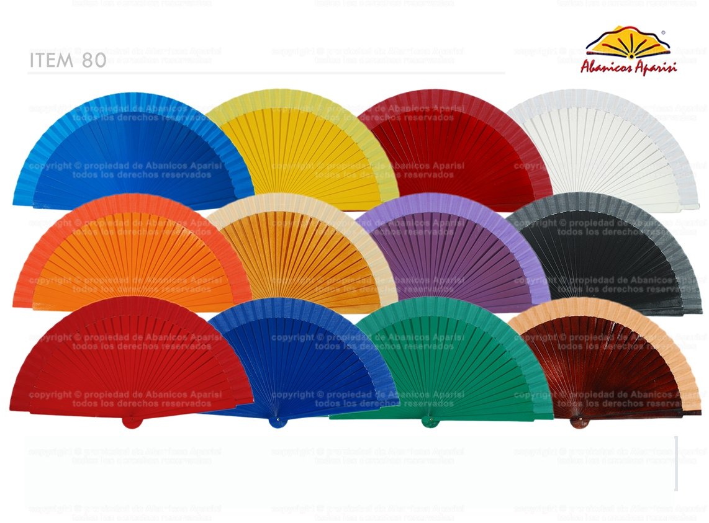 80 - Abanico de madera liso colores
