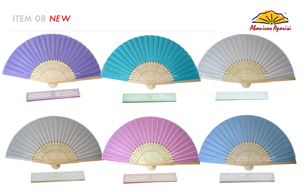 08 – Bamboo fan coloured fabric + individual box