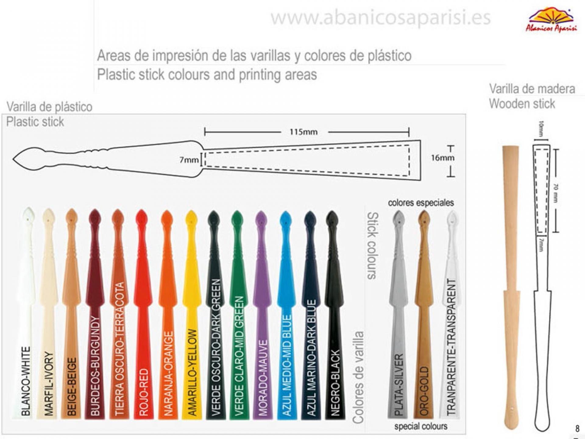 Colores varillas plástico