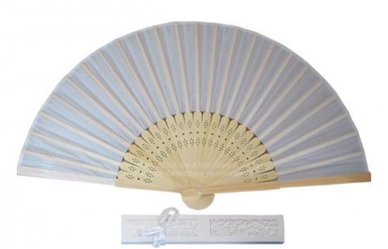 08 Blanco-Beige - Abanico bambú tela blanco-beige   cajita