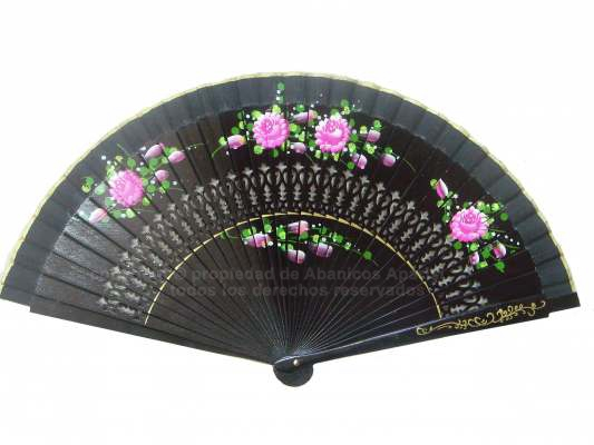 1223 – Fretwork Wood fan hand painted 2 sides