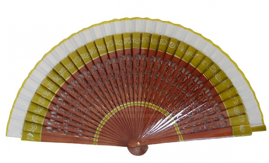 1229 – Wooden fan with hand painted border