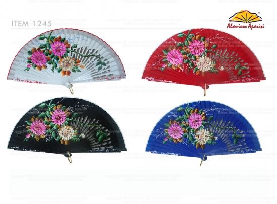 1245 – Wooden fan hand painted luxury flowers
