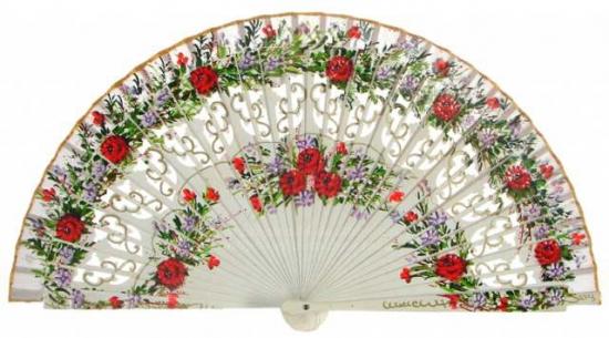 1246 - Abanico madera dos caras calado flores