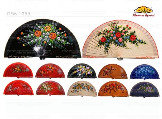 1255 - Abanico surtido flores pintado a mano 2 caras
