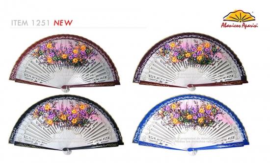 1267 – Wooden fan two color flowers – 2 sides
