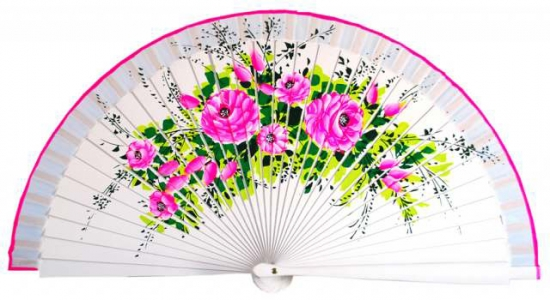 1500 – Hand painted wood fan on one side.