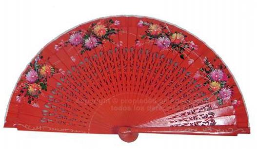 1801 – Fretwork wood fan 2 sides light colors