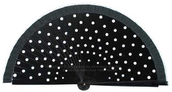 214/A - Abanico madera negro con lunares blancos