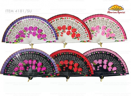 4181SU – Wood luxury fan hand painted in both sides