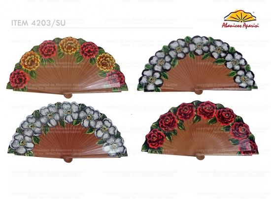 4203/SU - Abanico Madera Peral 1 Cara Lujo