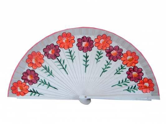 4205/SU - Abanico madera flores 1 cara