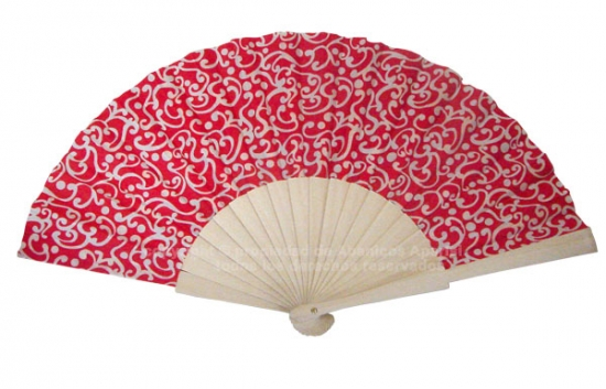 526 – Fan in natural wood printed fabric, 1 side