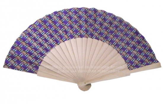 527 – Fan in natural wood, 9cms.fabric knots print – 1 side