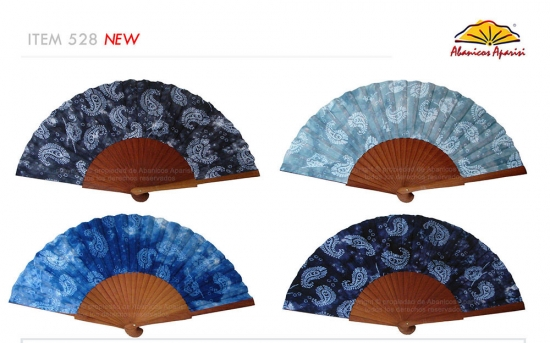 528 – Polished wooden printed fan