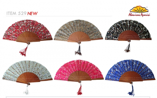 529 – Polished wooden fan embroidery fabric